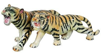 2 Large Vintage Ceramic Bengal Tiger Figurines Japan Porcelain Cats 11'' Pair