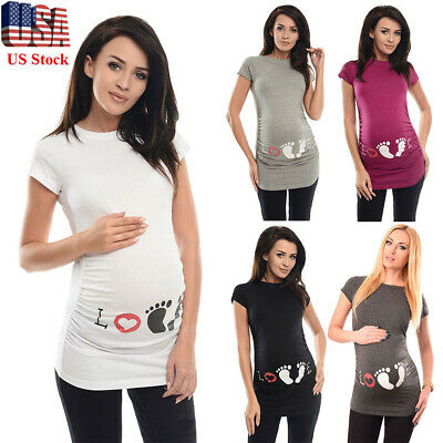 882126b18c3f8 Summer Maternity Footprint Print T-shirt Funny Gift Pregnant Women Top  Pregnancy