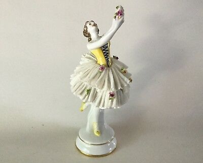"Antique VOLKSTEDT Dresden Lace 9 1/2"" Lady Figurine Dancer holding Flowers Lady"