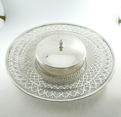 Tiffany & Co. Sterling Silver Pierced Tray & Covered Glass Dish Circa 1915-1947