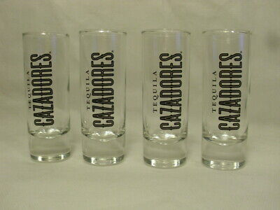 Set Of 4  Glass Tequila Cazadores Tall Shot Glasses New