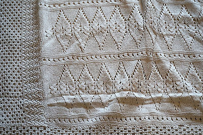 Vintage French Hand Made Cover Bed Coverlet Knit Crochet Cotton 78 x 68