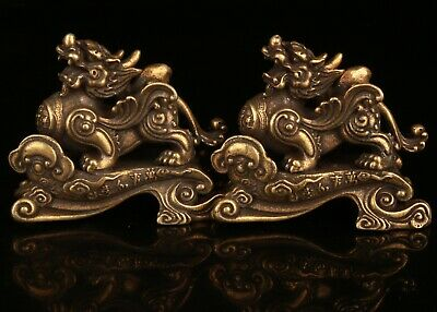 2 Chinese Bronze Hand Carving Kirin Statue Collection Gift Decoration