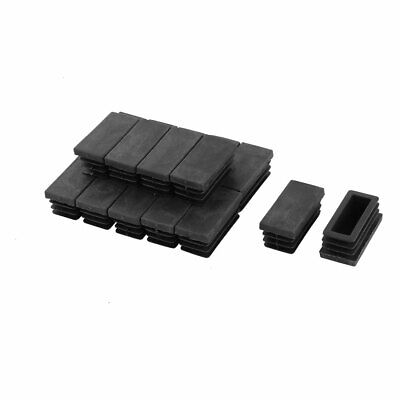 20mm x 40mm Plastic Rectangle Caps Tubing Pipe Inserts End Blanking Black 20pcs