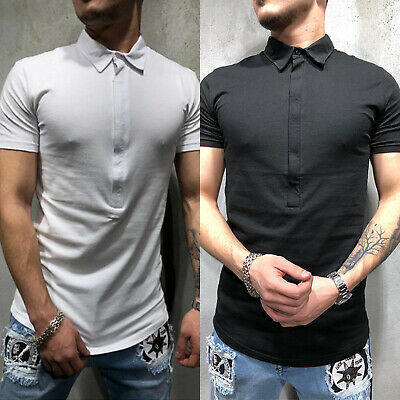 Mens Polo Slim Fit Casual T Shirt Sports Golf Short Sleeve Muscle Shirt Tops Tee