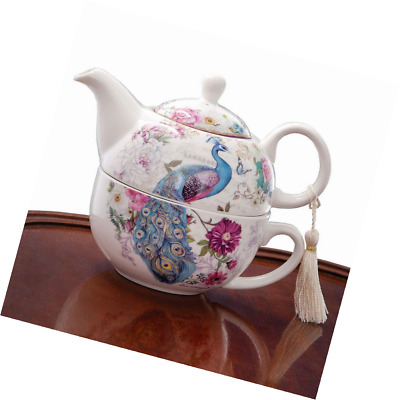 Bits and Pieces - Tea For One Peacock Porcelain Teapot and Cup Set - Elegant Des