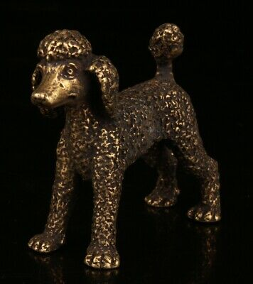 Chinese Bronze Hand Carving Dog Statue Gift Cute Collection Decoration