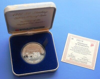 1988 Singapore Fire Service...$5...Silver (.925)...Proof...box & Coa #22210