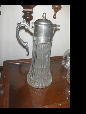 Vintage Silver Plated Pressed Glass Wine Claret Water  Carafe with Ice Insert
