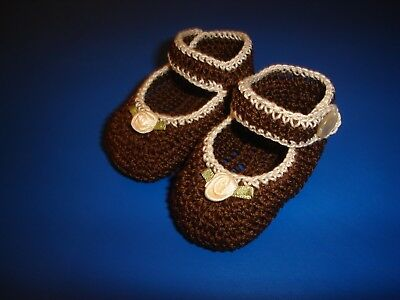 Crochet Handmade Baby Girl Booties Shoes Brown & Antique White Mary Jane