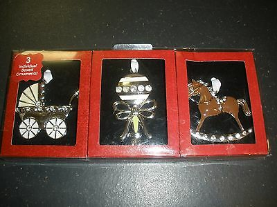 NEW box set 3 Christmas ornaments rocking horse, baby rattle, baby carriage