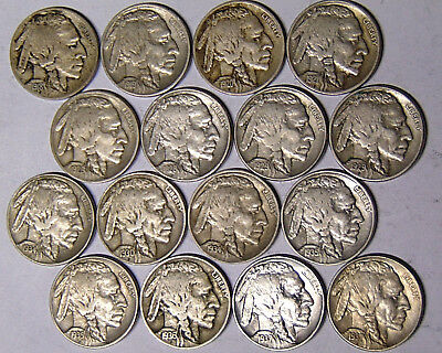 Part Set of 16 VF Buffalo Nickels 1918-1937 (6 With Mint Marks) 16 Different