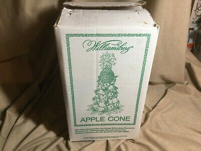 """Apple Fruit Cone Colonial Williamsburg Topiary Tree Wooden Base Centerpiece 12"""""""