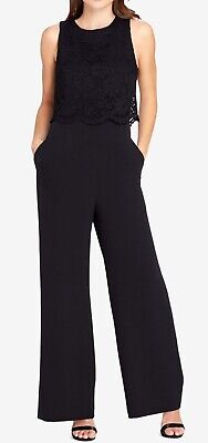 d8ecec4e5d9 Tahari By ASL NEW Black Women s Size 12 Lace Wide-Leg Jumpsuit  139-