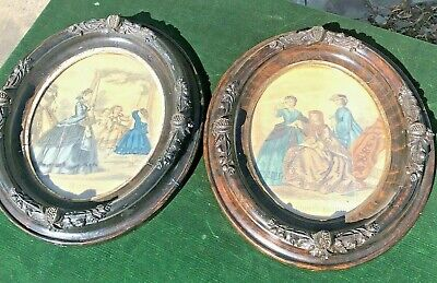 (2) SUPERB 19thC OVAL WALNUT CARVED BLACK FOREST  PICTURE FRAMES - BEAUTIES!