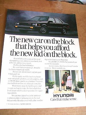 Original 1986 Hyundai Excel GLS Sedan Magazine Ad - The New Car On The Block