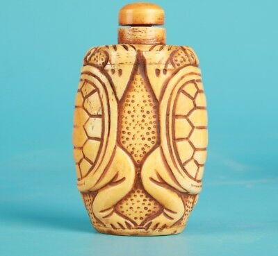 Precious Chinese Cattle Bone Snuff Bottle Statue Hand-Carved Turtle Mascot Gift