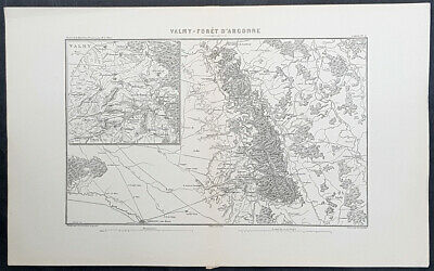 1846 Marie Adolphe Thiers Antique French Revolution Map Battle of Valmy, 1792
