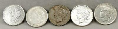 5  Morgan & Peace Silver Dollars! Winner Takes All! NO Reserve!