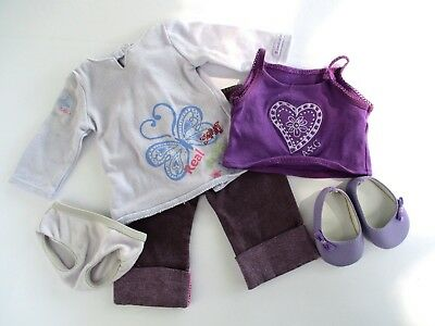 AMERICAN GIRL Real Me Meet Outfit Purple Lavender Ballet FLATS Shoes with Bows