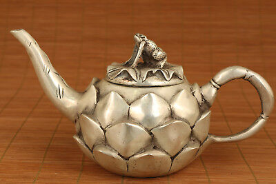 big Rare Chinese Old White copper Lotus flower Statue Tea Pot  decoration