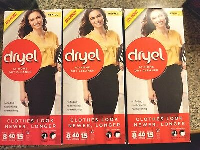 Dryel At Home Dry Cleaner Breezy Clean Scent 3 packs Cleans Up To 120 Garments