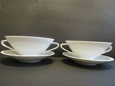 """Hutschenreuther APART~Set of 2 Cream~Double Handle~Soup and Saucer Set~2 1/8""""X5"""""""