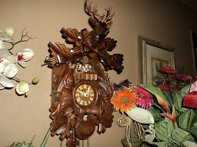 Beautiful German Black Forest Carved 8 Day Musical Cuckoo Clock With Dancers