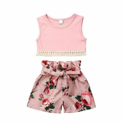 Toddler Clothing 2pcs Tassel Vest Tops Floral Shorts Fashion Outfits Set 1-6yrs