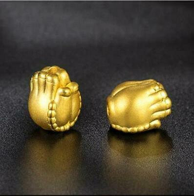 Pure 999 24k Yellow Gold Pendant 3D Carved Bless Buddha Bead Hand Pendant 1-1.5g