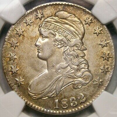 1832 Capped Bust Silver Half Dollar Scarce Large Letters Ngc Au 55 Golden Toning