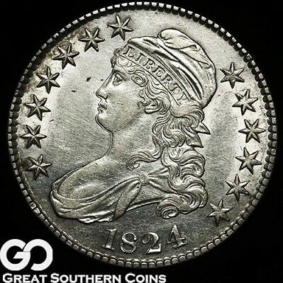 1824 Capped Bust Half Dollar, Very Nice Choice AU++ Silver Half, Doubled Profile