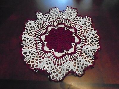 New Hand Crochet Doily Antique/Vintage/Victorian Ruffles White/Currant Gift