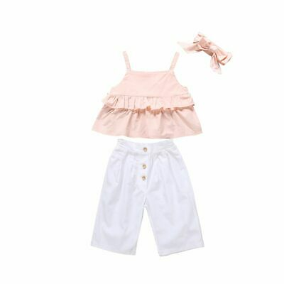 Girl Clothes Children Kids Baby Ruffle Sling Tops Long Pants 3PCS Outfits 1-6Yrs