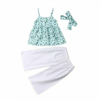 Toddler Clothes Baby Girl Layered Vest Tops Wide Leg Pant Trouser Headband Sets