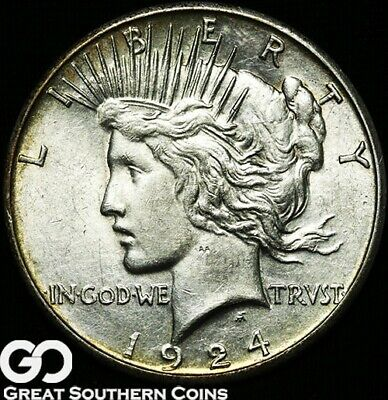 1924-S Peace Dollar, Choice Uncirculated+ Better Date Silver Dollar