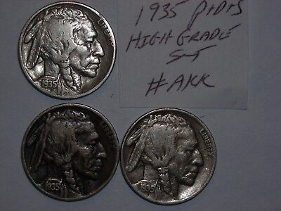 BUFFALO NICKEL 1935,1935D,1935s SET INDIAN HEAD 5 CENT 1935-P,1935-D,1935-S lot3