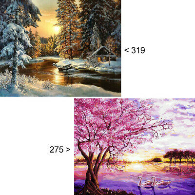 oil painting by numbers on canvas acrylic drawing paint Kit sunrise snow river