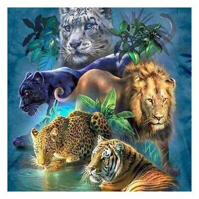 DIY 5D Diamond Painting Tiger Lion Embroidery Cross Crafts Stitch Kit Home Decor