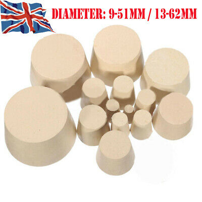 Rubber Stopper Bottle Tapered Hole Bung Water Pipe Lab test Tube Seal Plugs WCS