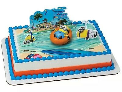 Despicable Me 2 Minions Beach Party DecoSet CAKE DECORATION NEW SEALED