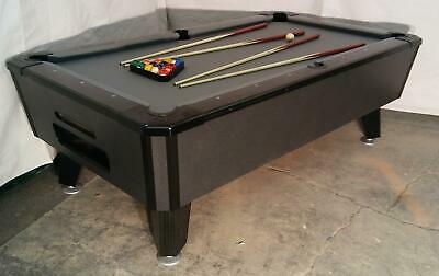 Valley Cougar Commercial Bar Size 7' Coin-Op Pool Table Black Cat In Steel Grey