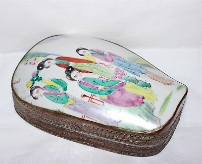 Antique Chinese Engraved Box FAMILLE ROSE Enamel Porcelain Scenic Plaque Cover