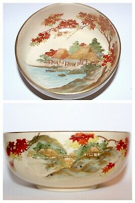 Antqiue SATSUMA Meiji Japan Goykuzan Signed Hand Painted Pictorial Bowl