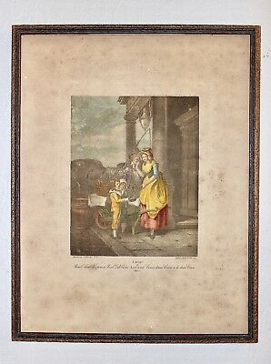 """Antique """"Cries Of London"""" Color Printed Stipple Engraving by G. Vendramini c19th"""