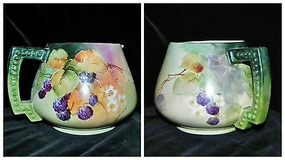 c1900 Limoges French Hand Painted Blackberry Lemonade Water Pitcher Jean Pouyat