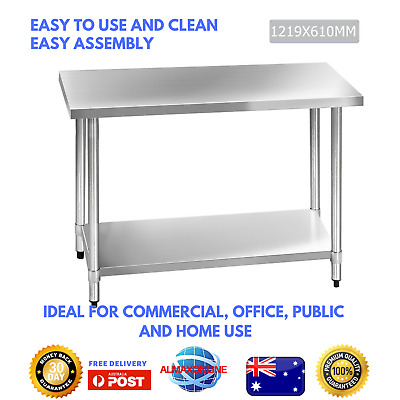 New Commercial 430 Stainless Steel Kitchen Work Bench Food Grade Prep Table Top