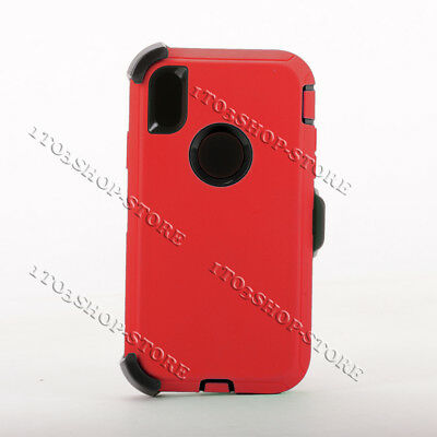 iPhone XR Defender Shockproof Hard Shell Snap Case w/Holster Belt Clip Red/Black