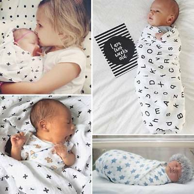 Newborn Infant Baby Kids Muslin Swaddle Soft Sleeping Blanket Wrap Bath Towel AU