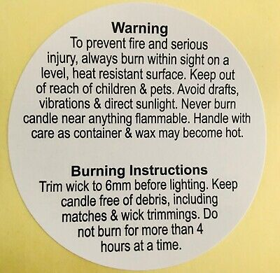 Candle Safety and  Fire Prevention Warning Stickers 6cm / 60mm 10 pcs  New